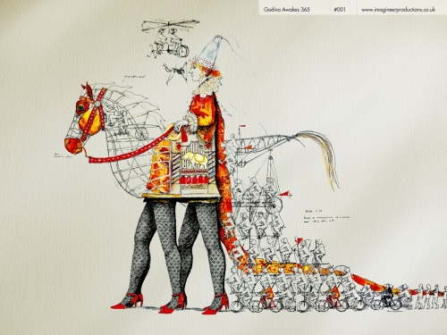 Design for Godiva Awakes giant puppet