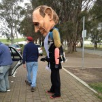 Getting the puppet ready at Parliament House