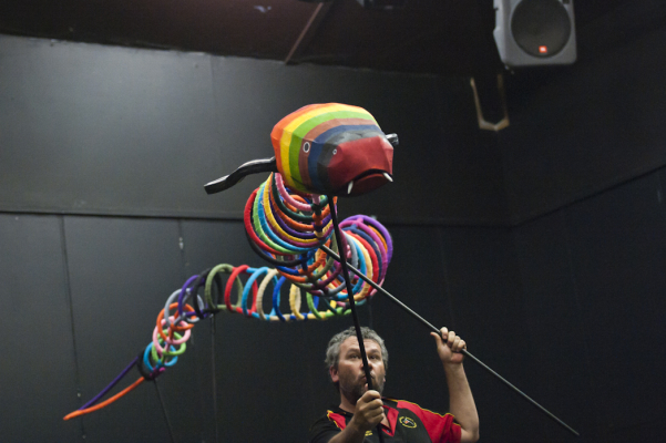 The Rainbow Serpent puppet for Biami