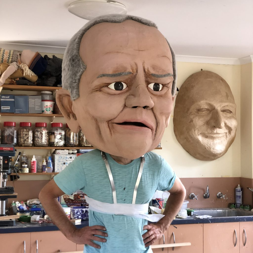 Big Scott Morrison and Bill Shorten puppets